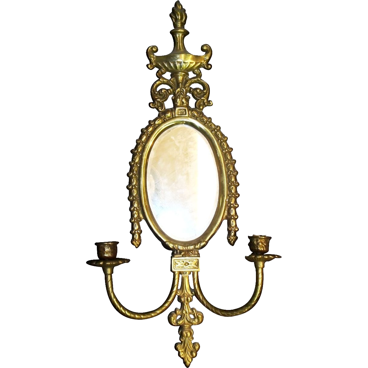 Pair of mirrored brass candle sconces
