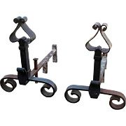 Banded Wrought Iron Andirons
