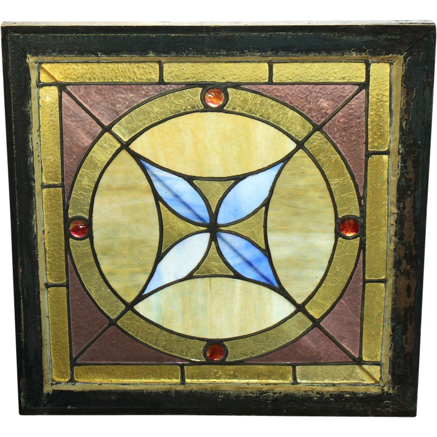 Square stained glass with geometric designs