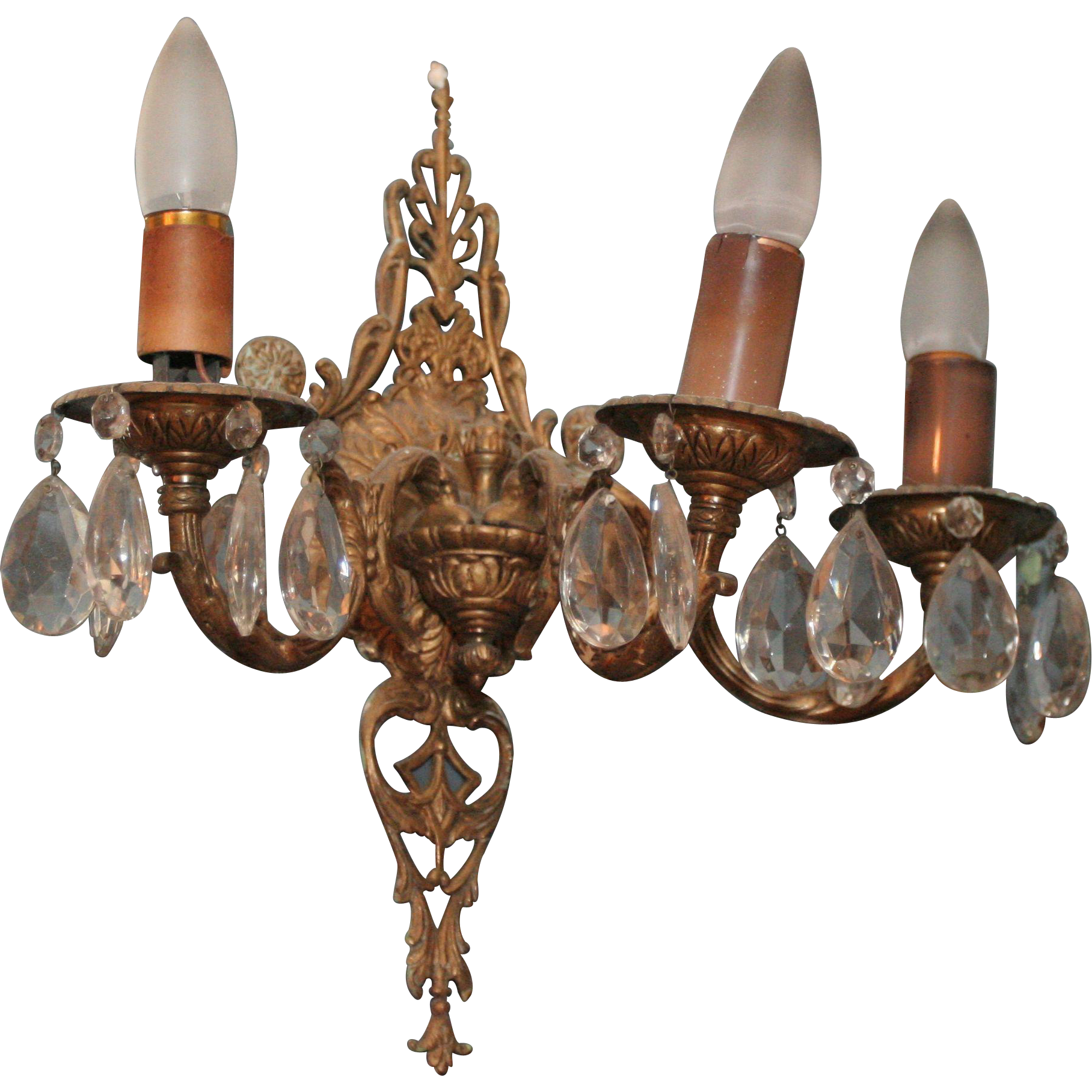 Spanish style brass and crystal sconces