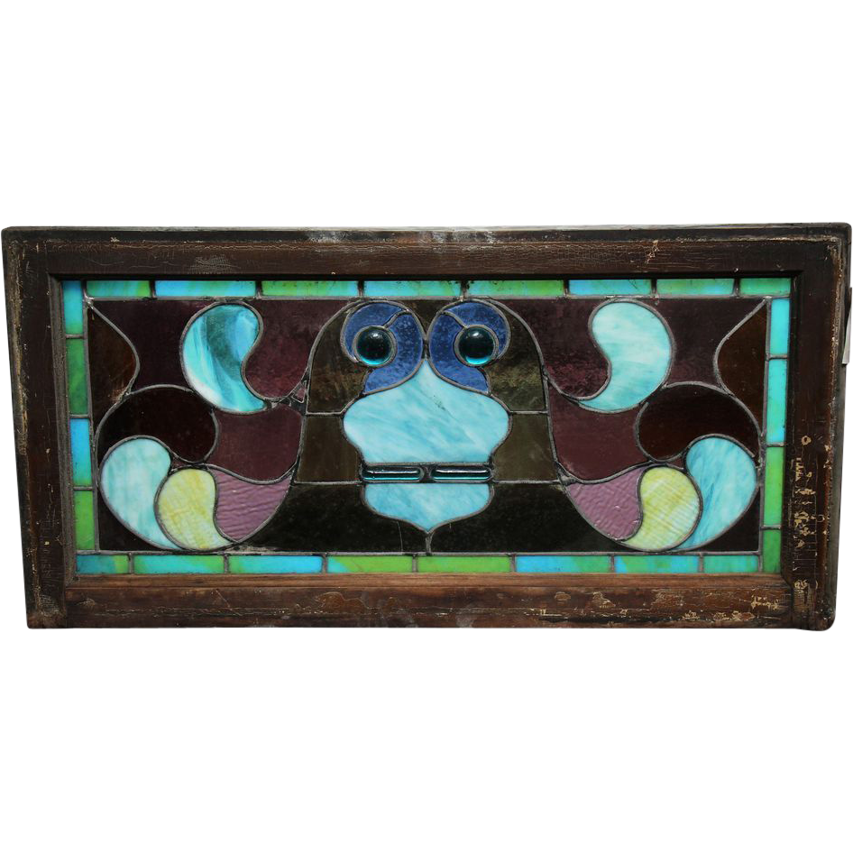 Colorful stained glass with jewels
