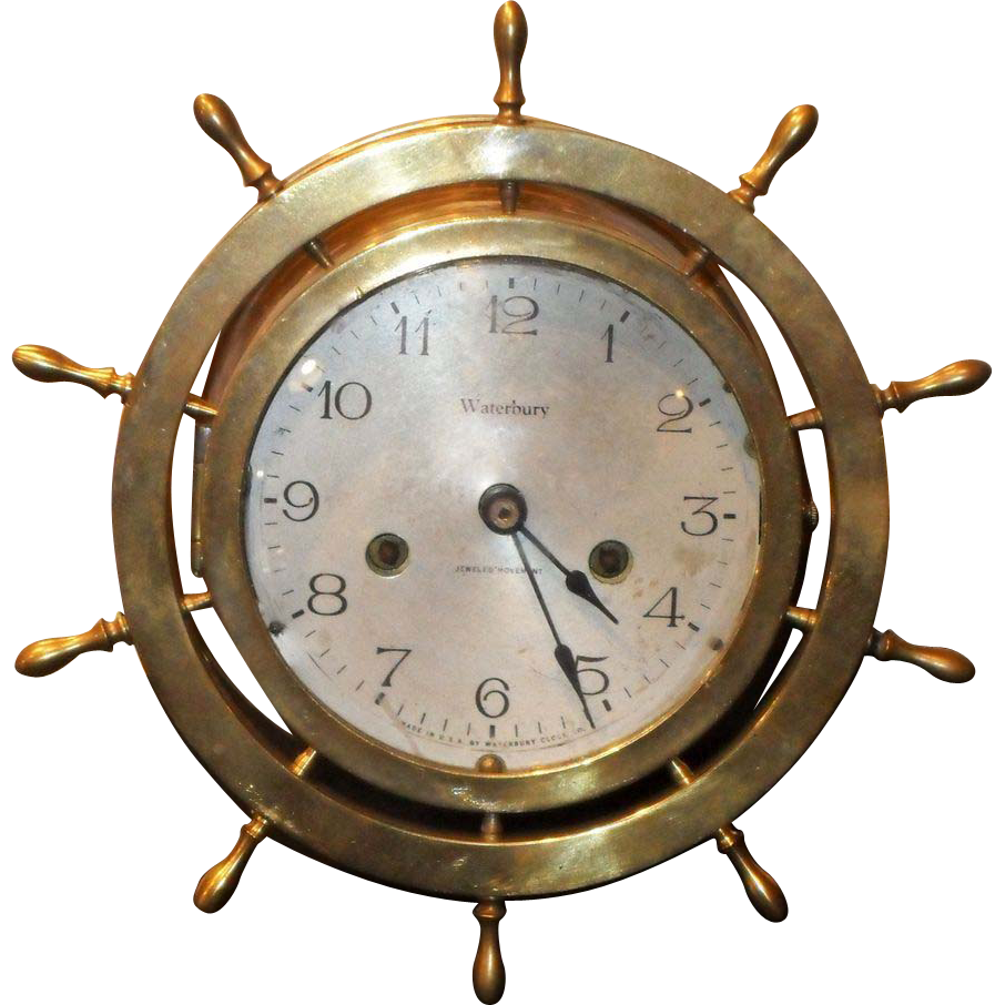 Waterbury solid brass ship clock