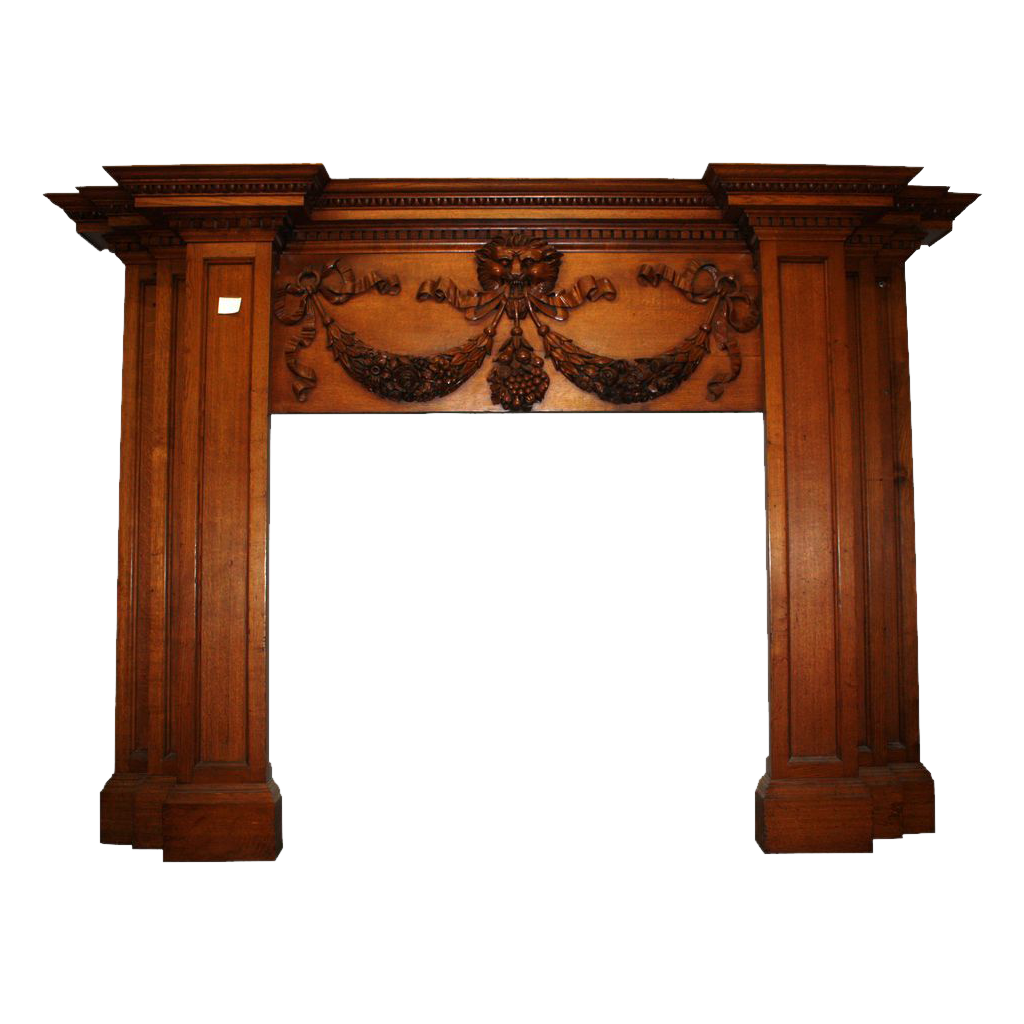 19th Century oak English Regency style wood mantel