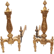 Pair of Early American design bronze andirons