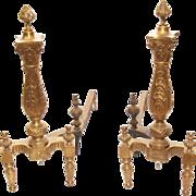 Pair of Early American design bronze andirons