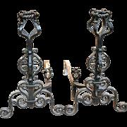 Pair of heavy wrought iron andirons