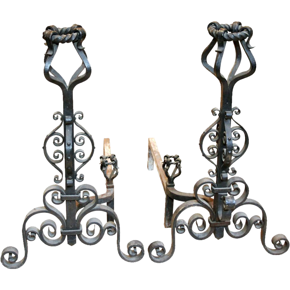 Pair of heavy wrought iron andirons
