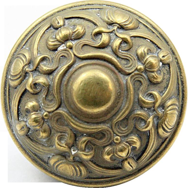Brass Art Nouveau doorknob set