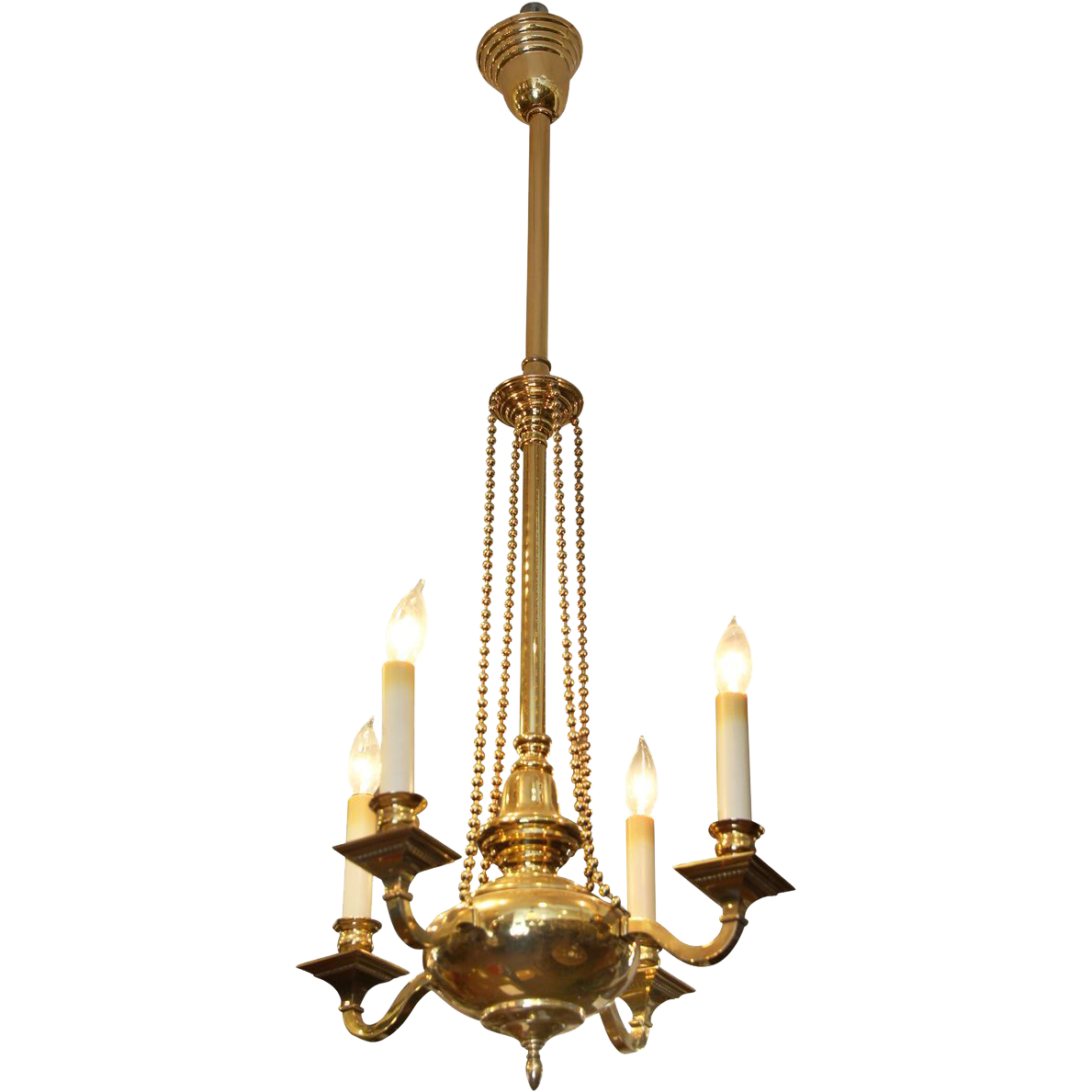 Four light Colonial brass pendant light