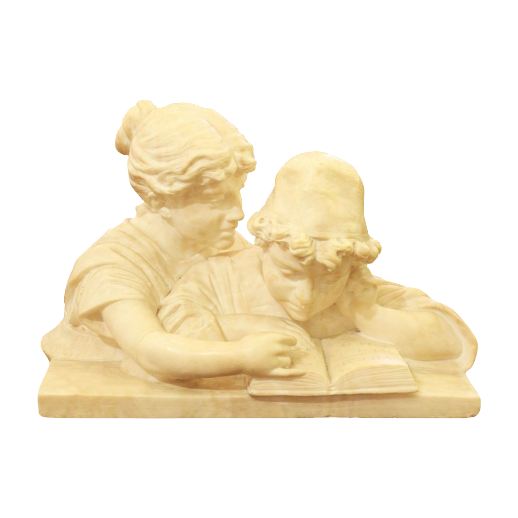 Marble sculpture of boy and girl reading a book