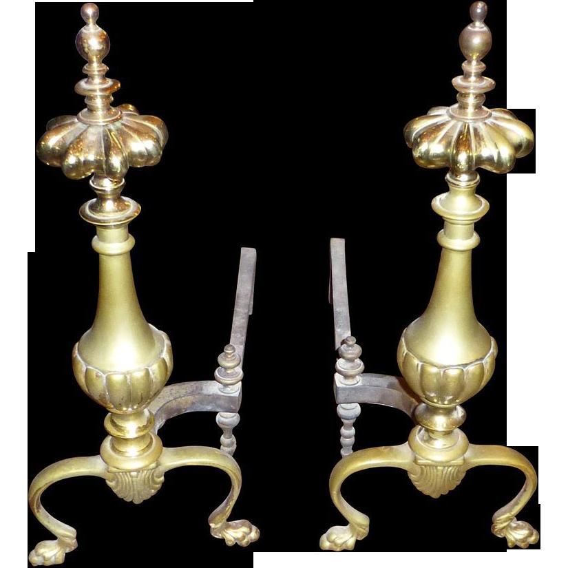 Original bronze andirons