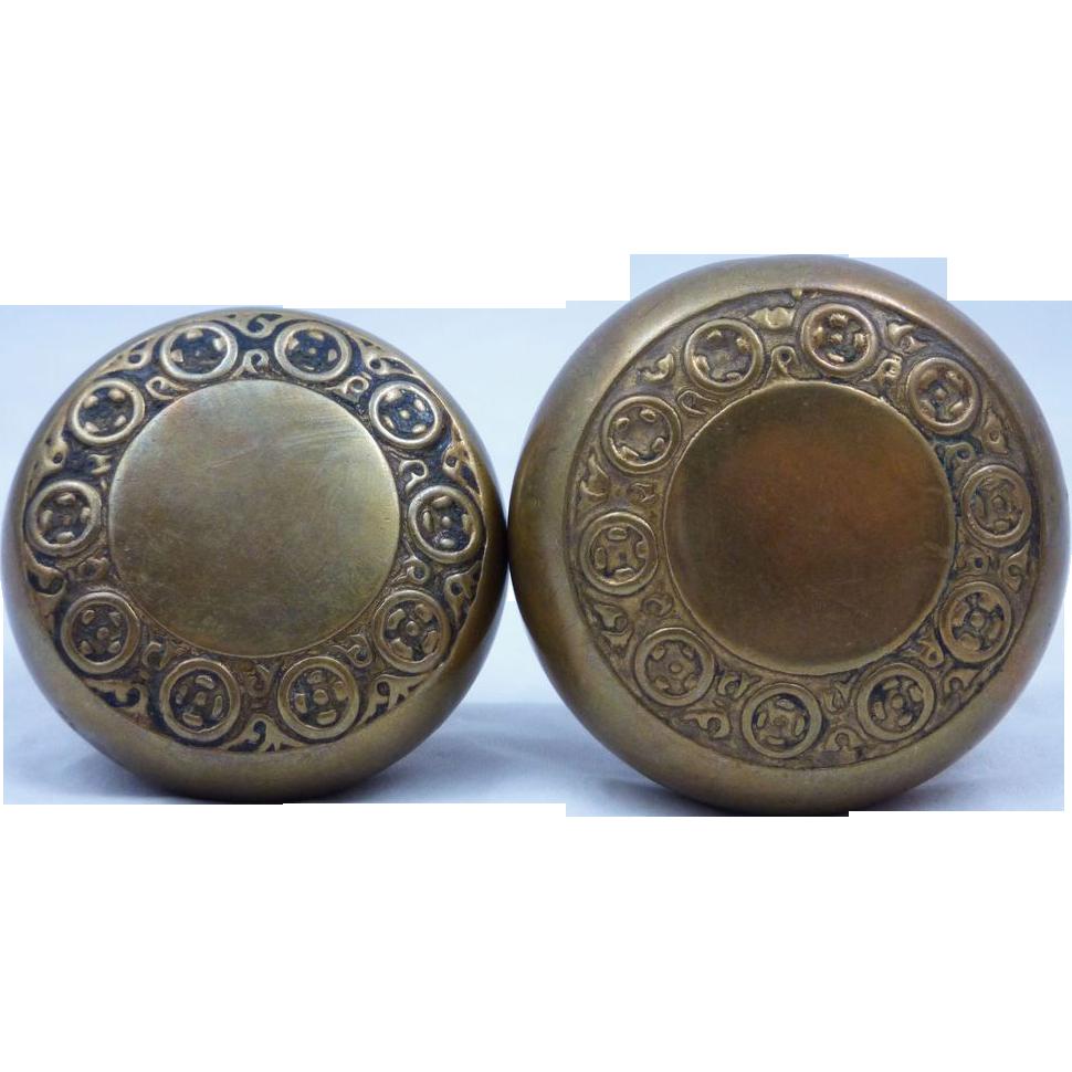 Simple elegant brass entry doorknob set