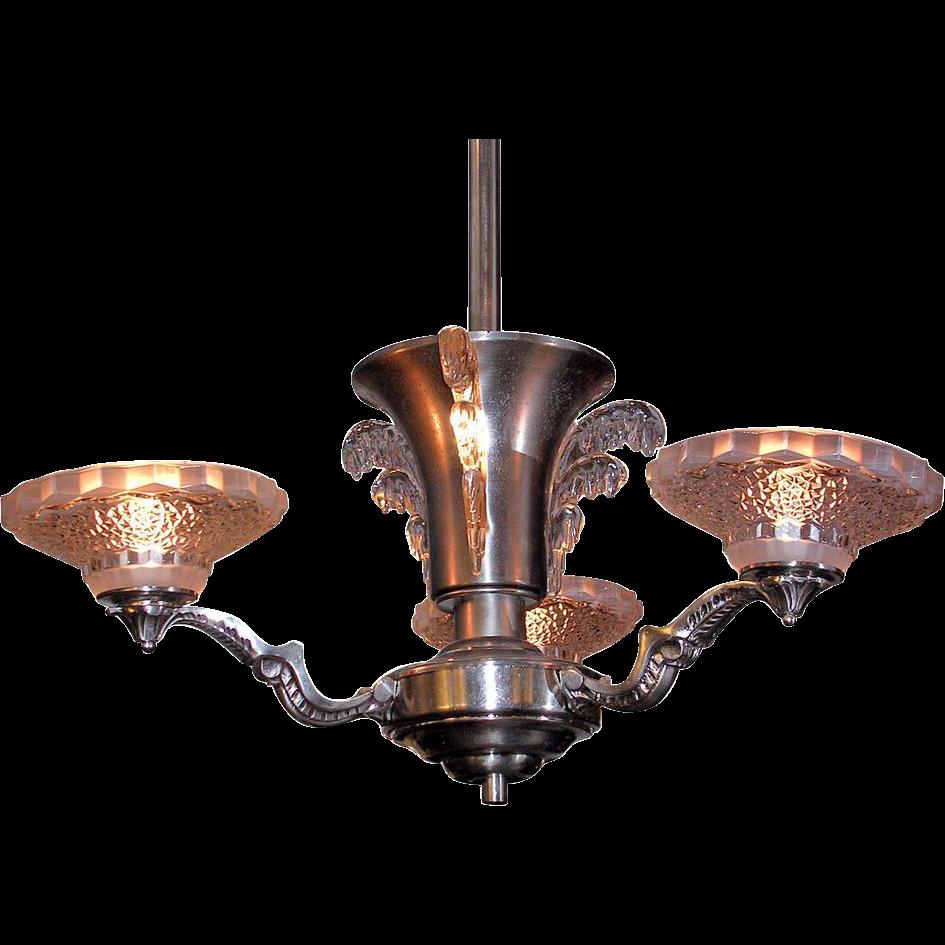 Art Deco nickel plated chandelier