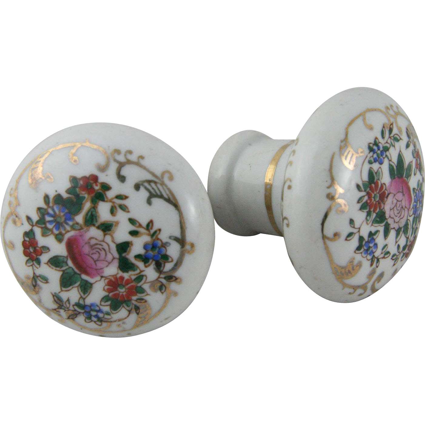 Dainty porcelain painted floral doorknobs