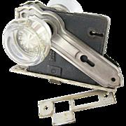 Art Deco glass doorknob set with mortise lock