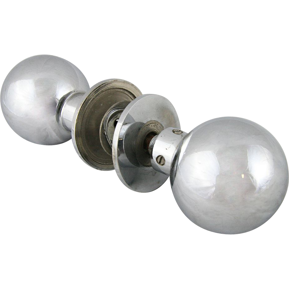 Vintage spherical chrome and brass door knob set