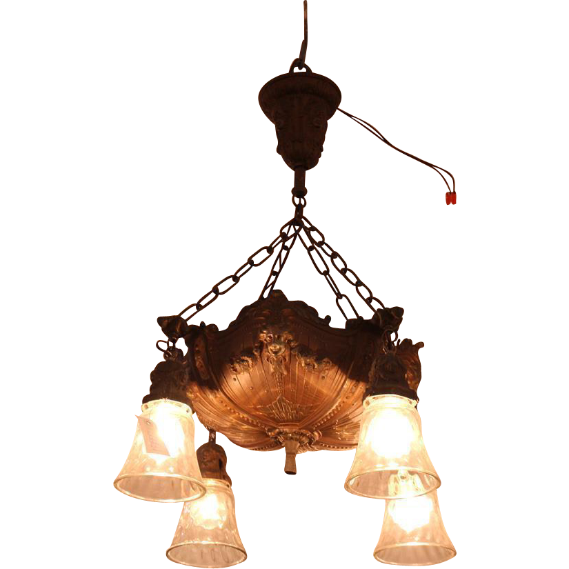 Figural cast metal chandelier with 4 lights