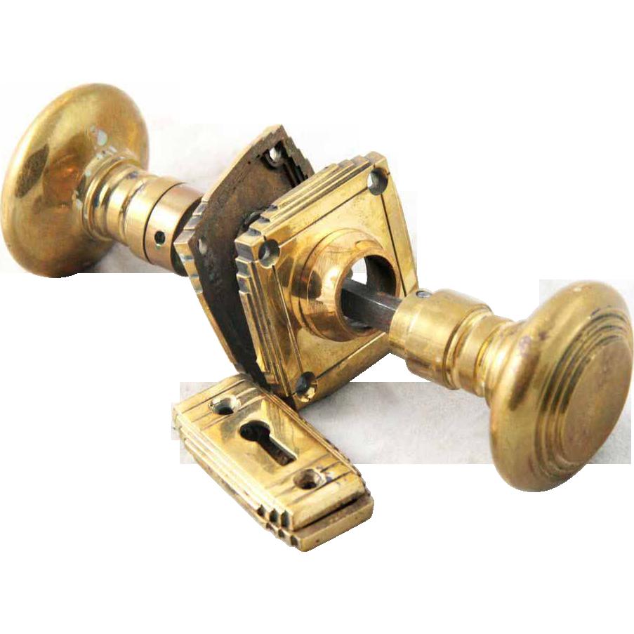 Cast bronze Art Deco knob set