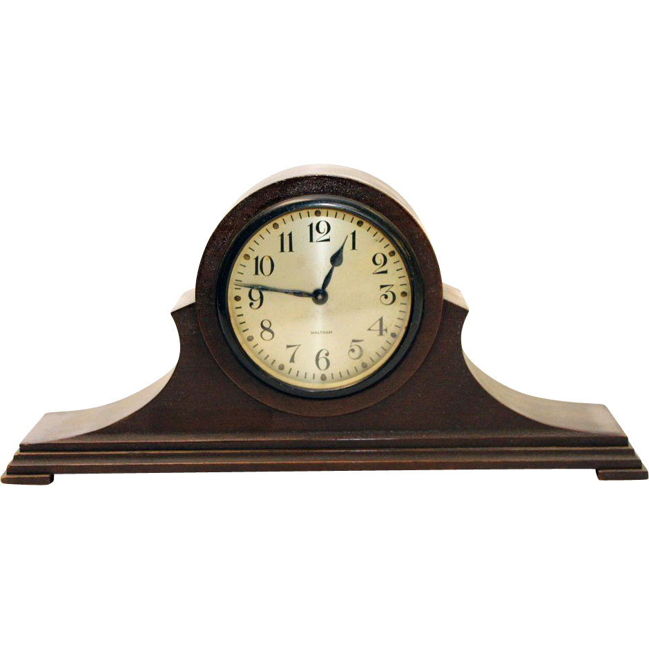 Vintage Waltham brown wooden mantel clock
