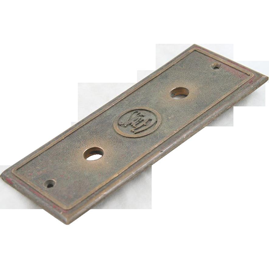 1900's Stanley cast bronze elevator plate