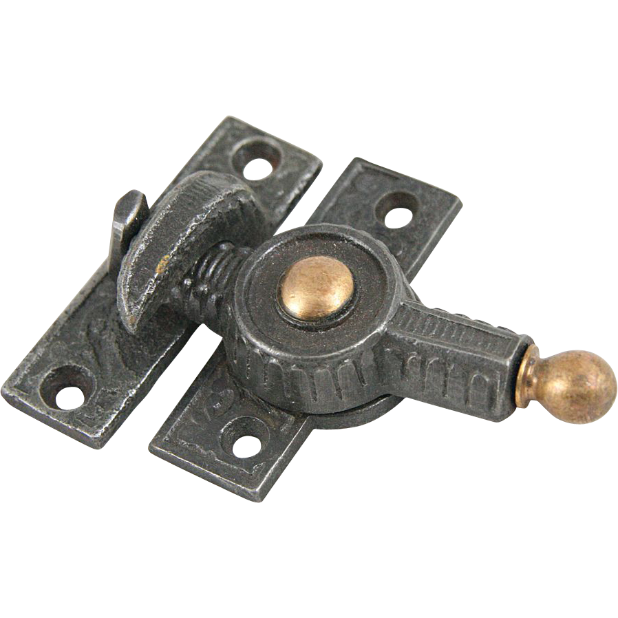 Victorian window latches with brass features