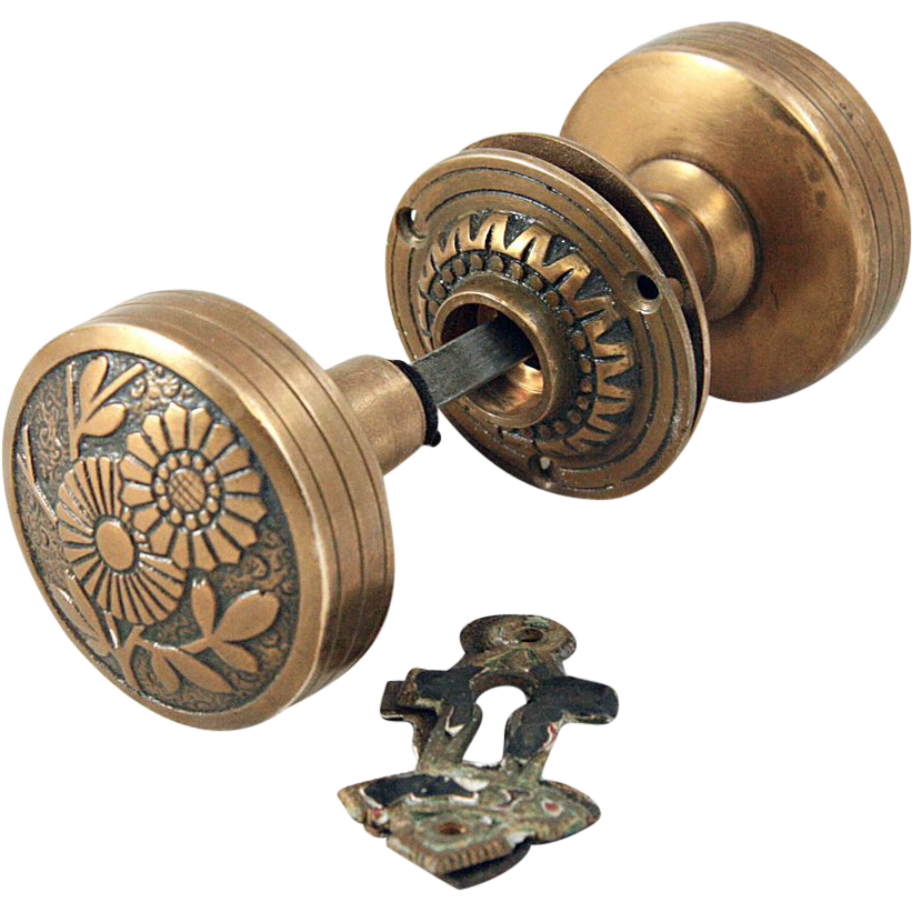 Russell & Erwin vernacular floral knob set with keyhole