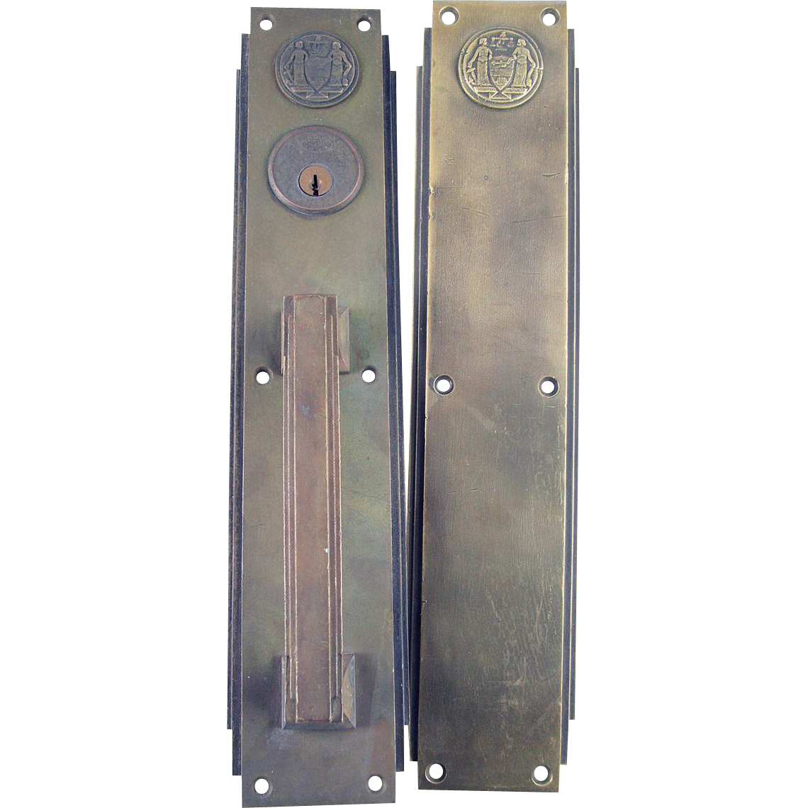 Deco bronze push pull door plates from the Philadelphia Civic Center