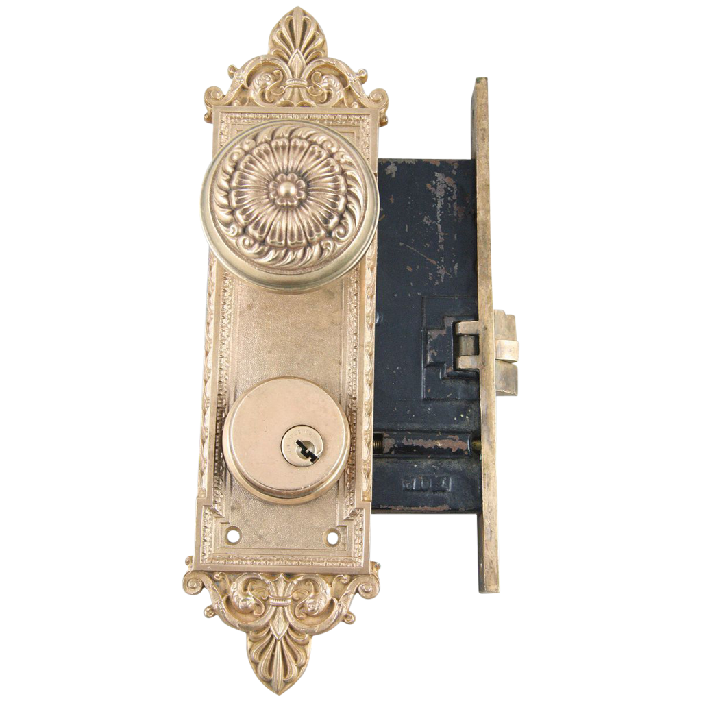 1900's Romanesque Lockwood mortise lock set