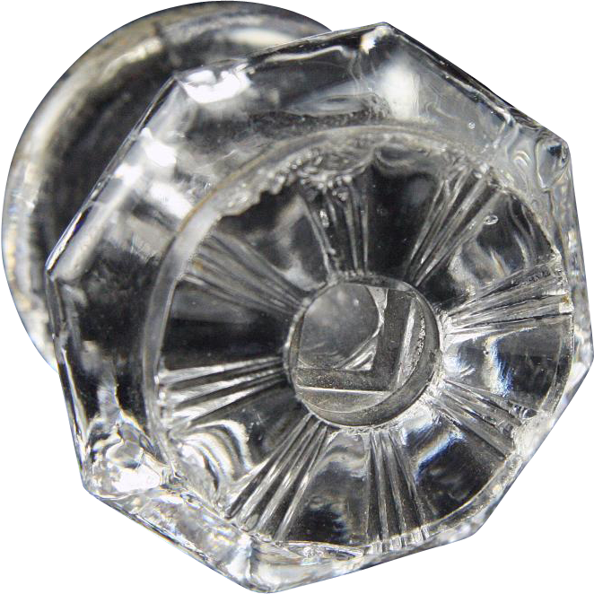 Octagon pressed glass furniture knobs