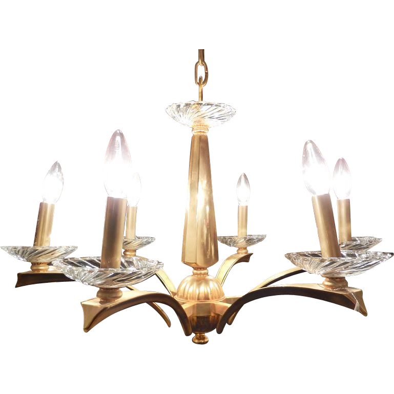 Gilded bronze mid century modern chandelier with deco flair