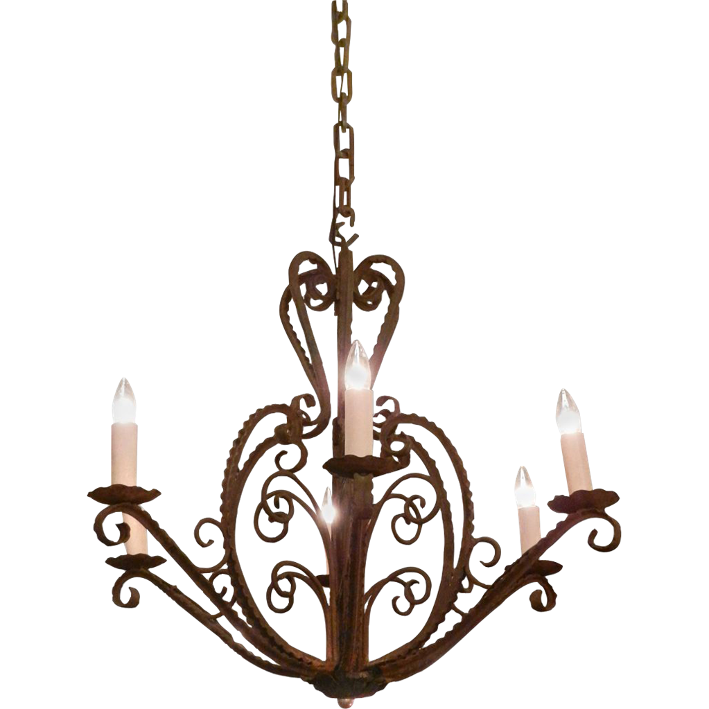 Mic Century French wrought iron six arm chandelier