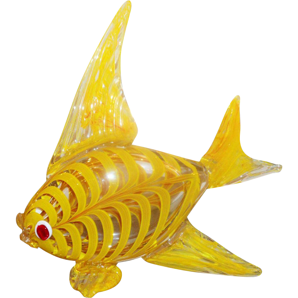 Murano glass yellow kissing fish sculpture