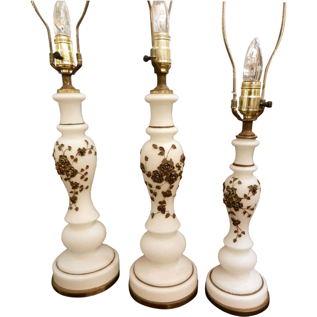 Set of vintage white floral lamps