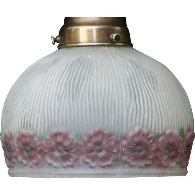 Milk glass globe with pink flowers