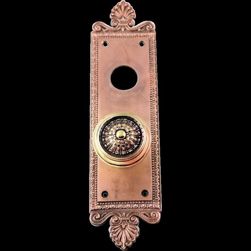 Victorian copper plated doorknob set