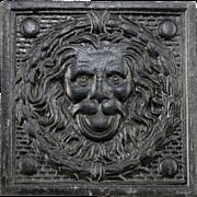 Rare vintage lion head decorative tile