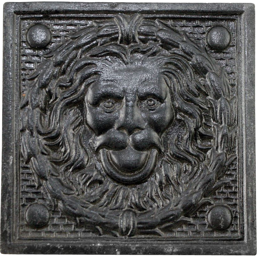 Rare vintage lion head decorative tile