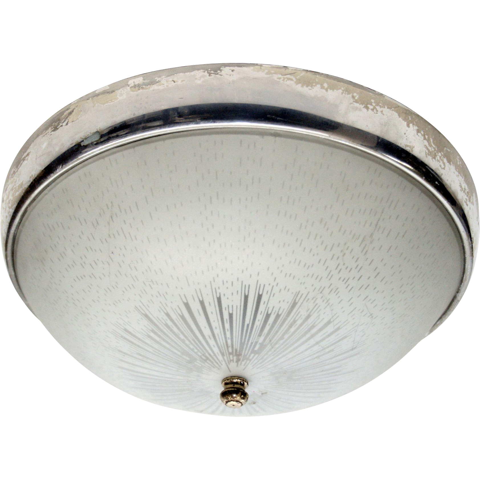 1950s Original flush mount light with nickel trim