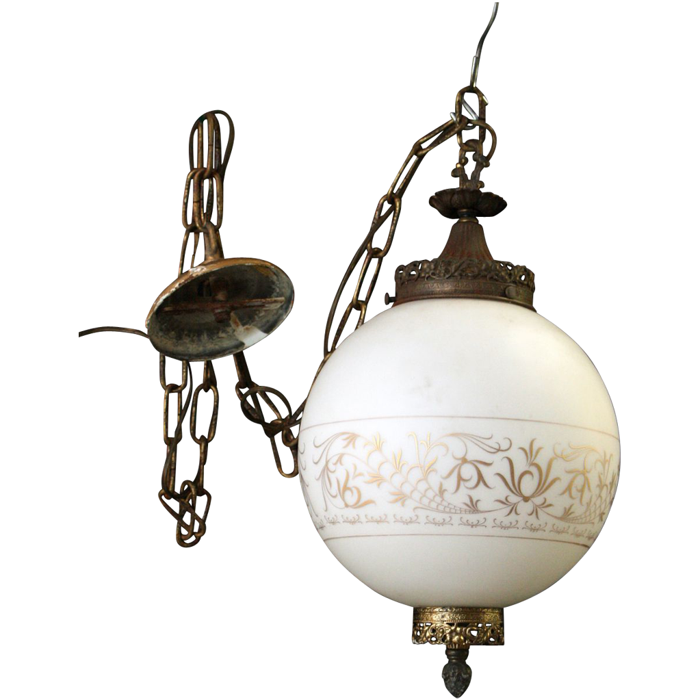 Gorgeous 1970's globe light with ornate golden detail