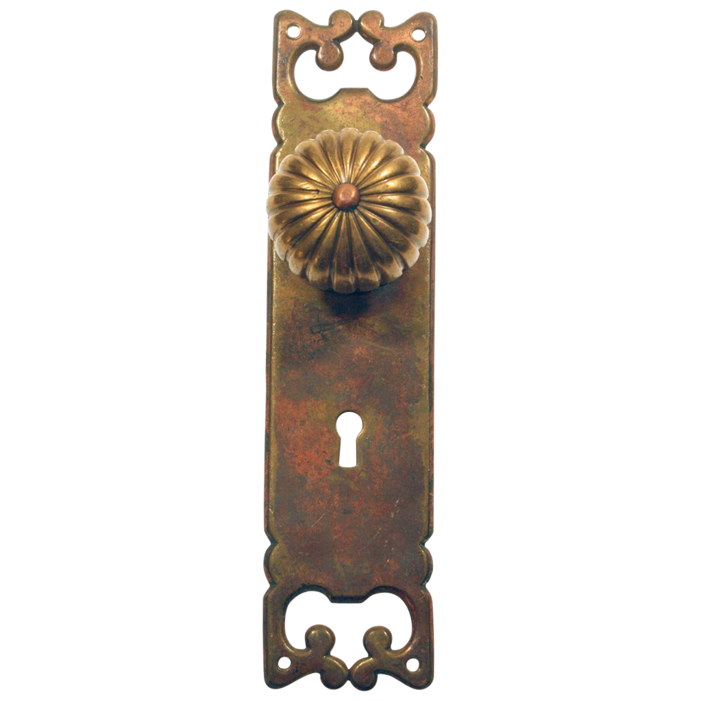 Bronze backplate with swirl design copper knob set
