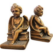 Vintage pair of plaster angel bookends