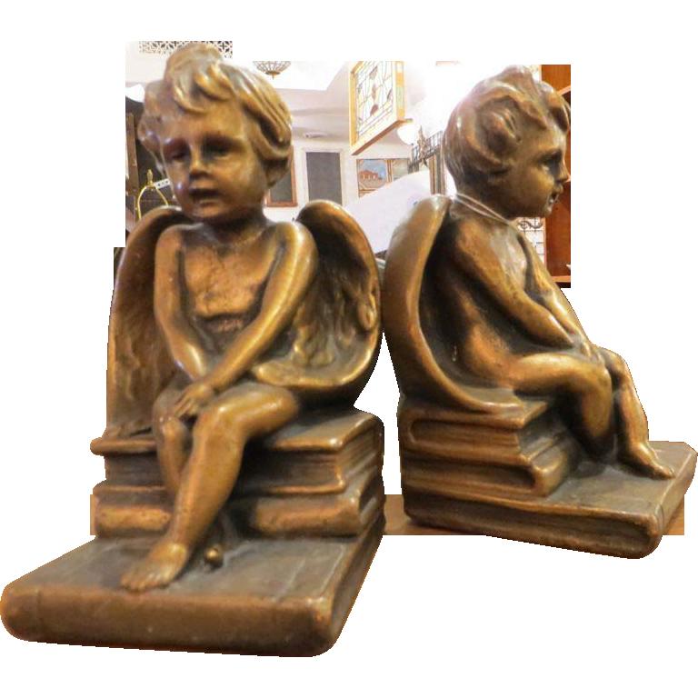 Vintage pair of plaster angel bookends