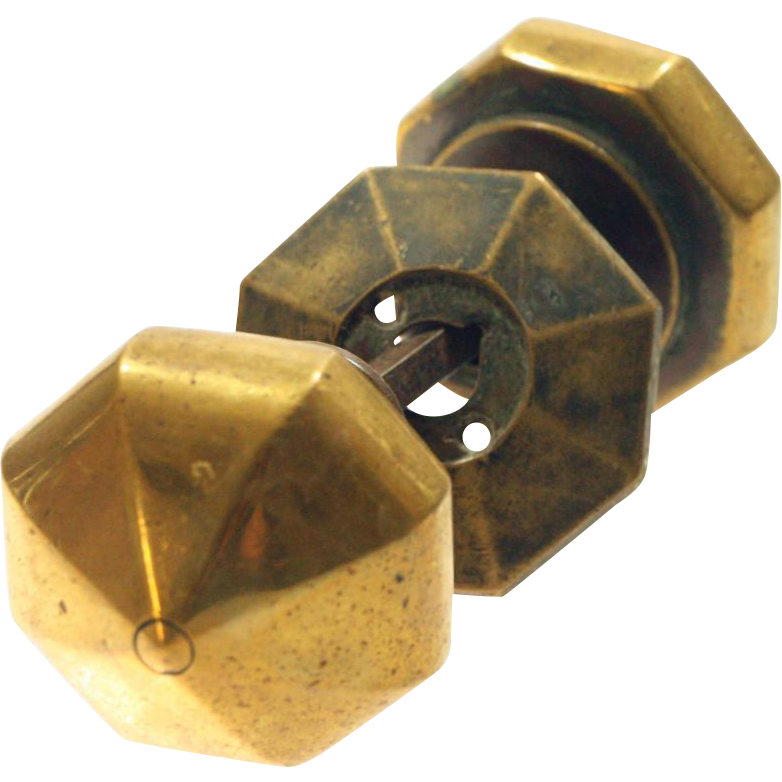 Bronze Arts & Crafts oversized octagon door knob set
