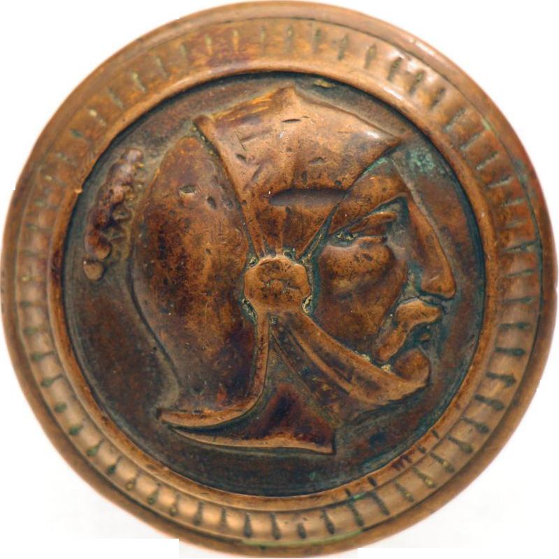 Antique rare Greek figural bronze knob
