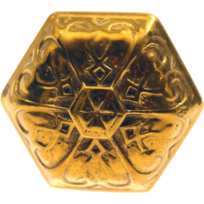 Antique bronze hexagon shaped Vernacular knob