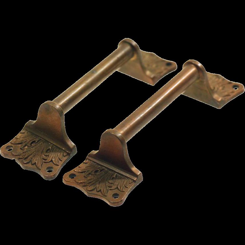 Original cast bronze bar drawer pulls