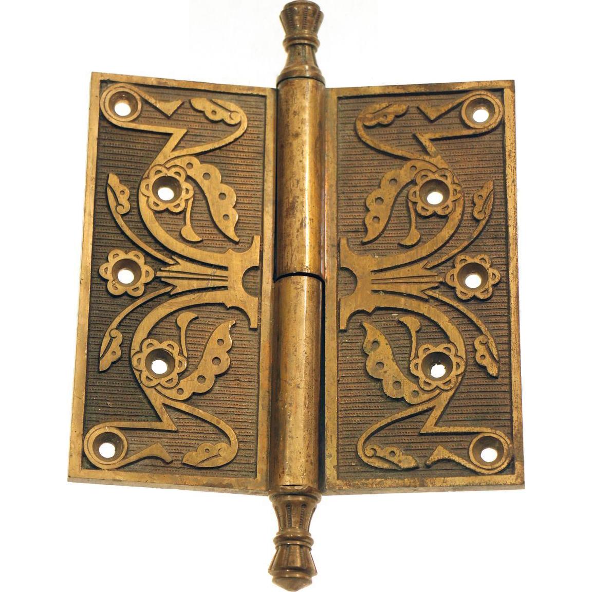 Solid brass ornate Eastlake pintel hinge