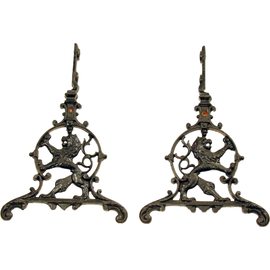 Pair of decorative iron hardware with lion design