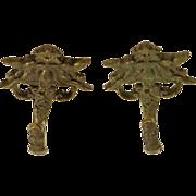 Set of cast bronze angel hooks