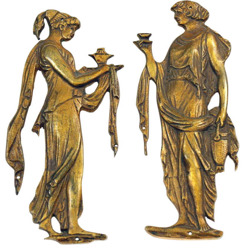 Pair of decorative Roman figural accent hardware
